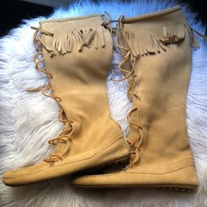 Minnetonka knee-high suede boots